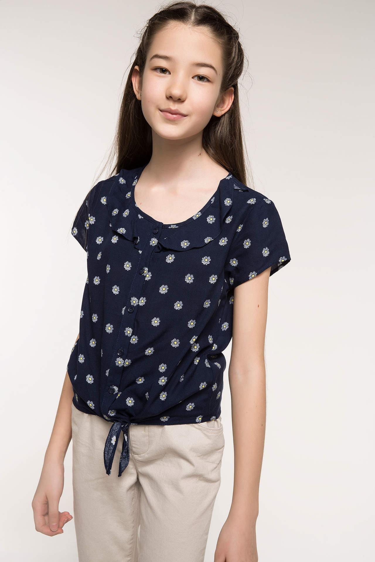DeFacto Kız Çocuk Papatya Baskılı Bağlama Detaylı Gömlek Lacivert female