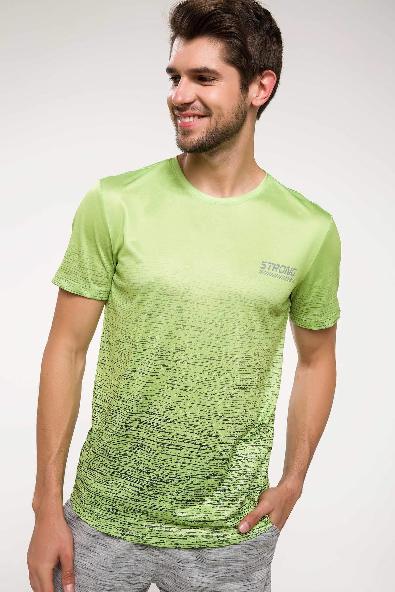 DeFacto Erkek Slim Fit Sporcu T-shirt Yeşil male