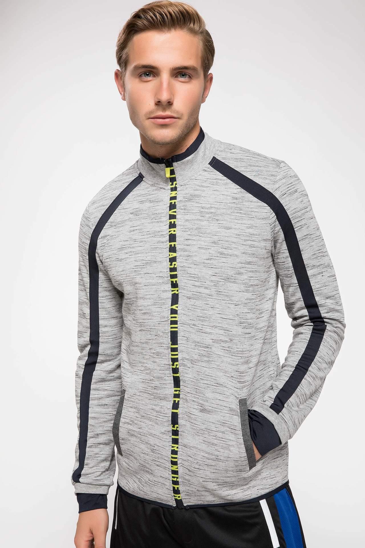 DeFacto Erkek Dik Yaka Slim Fit Sporcu Sweatshirt Gri male