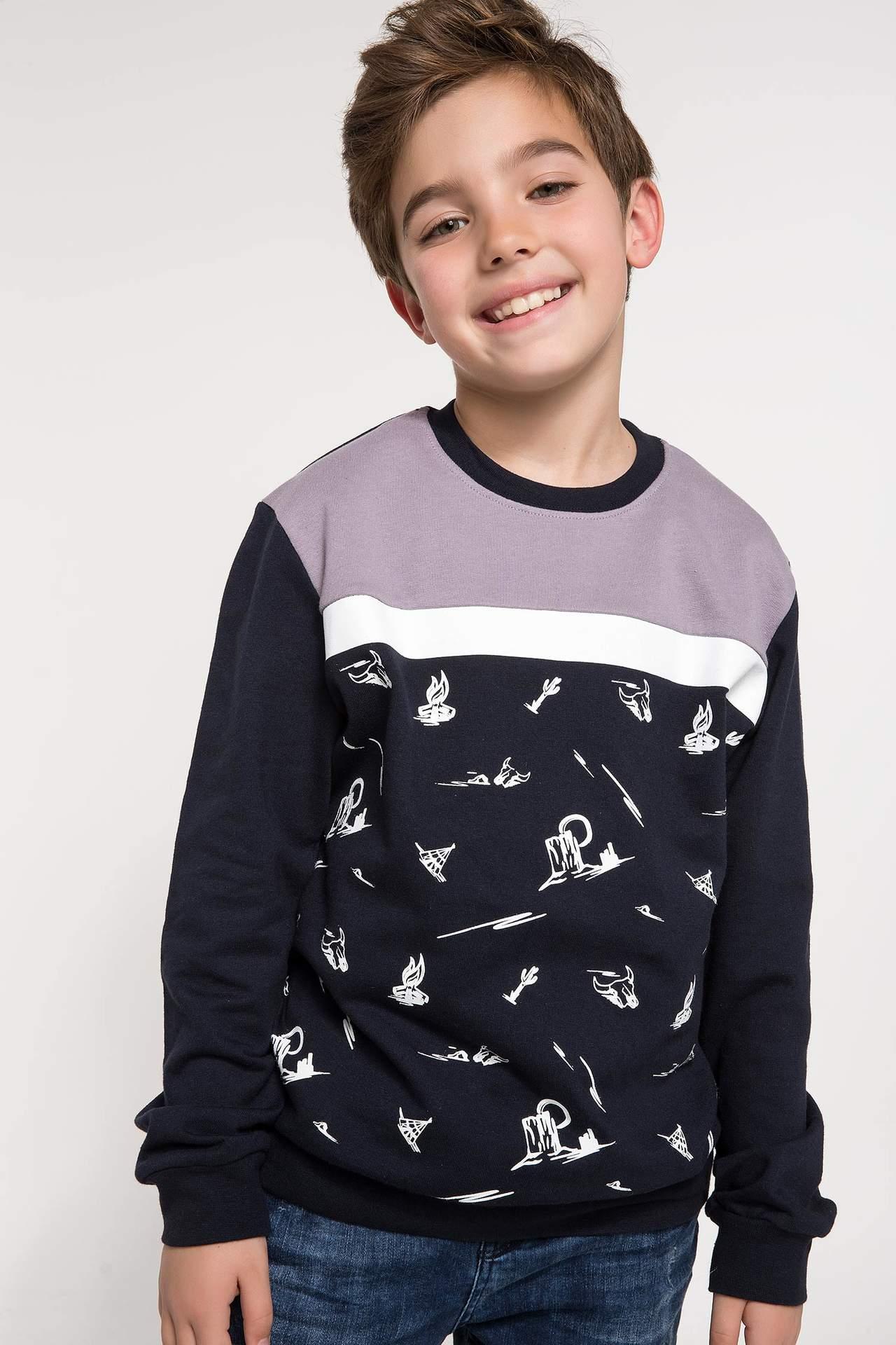 DeFacto Erkek Çocuk Baskılı Sweatshirt Lacivert male