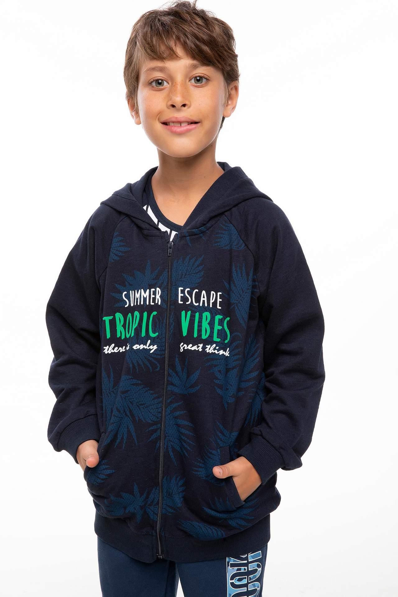 DeFacto Erkek Çocuk Kapşon Detaylı Baskılı Sweatshirt Lacivert male