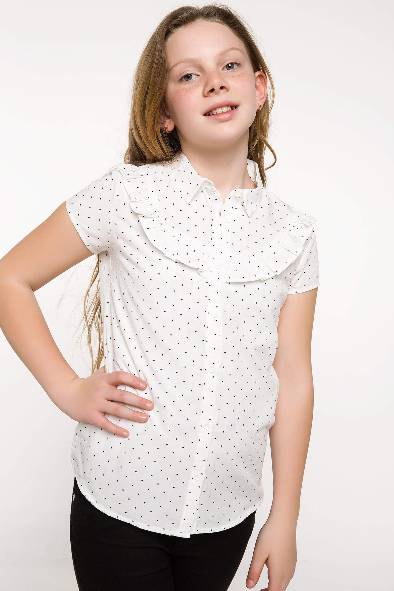 DeFacto Kız Çocuk Baskılı Bluz Beyaz female