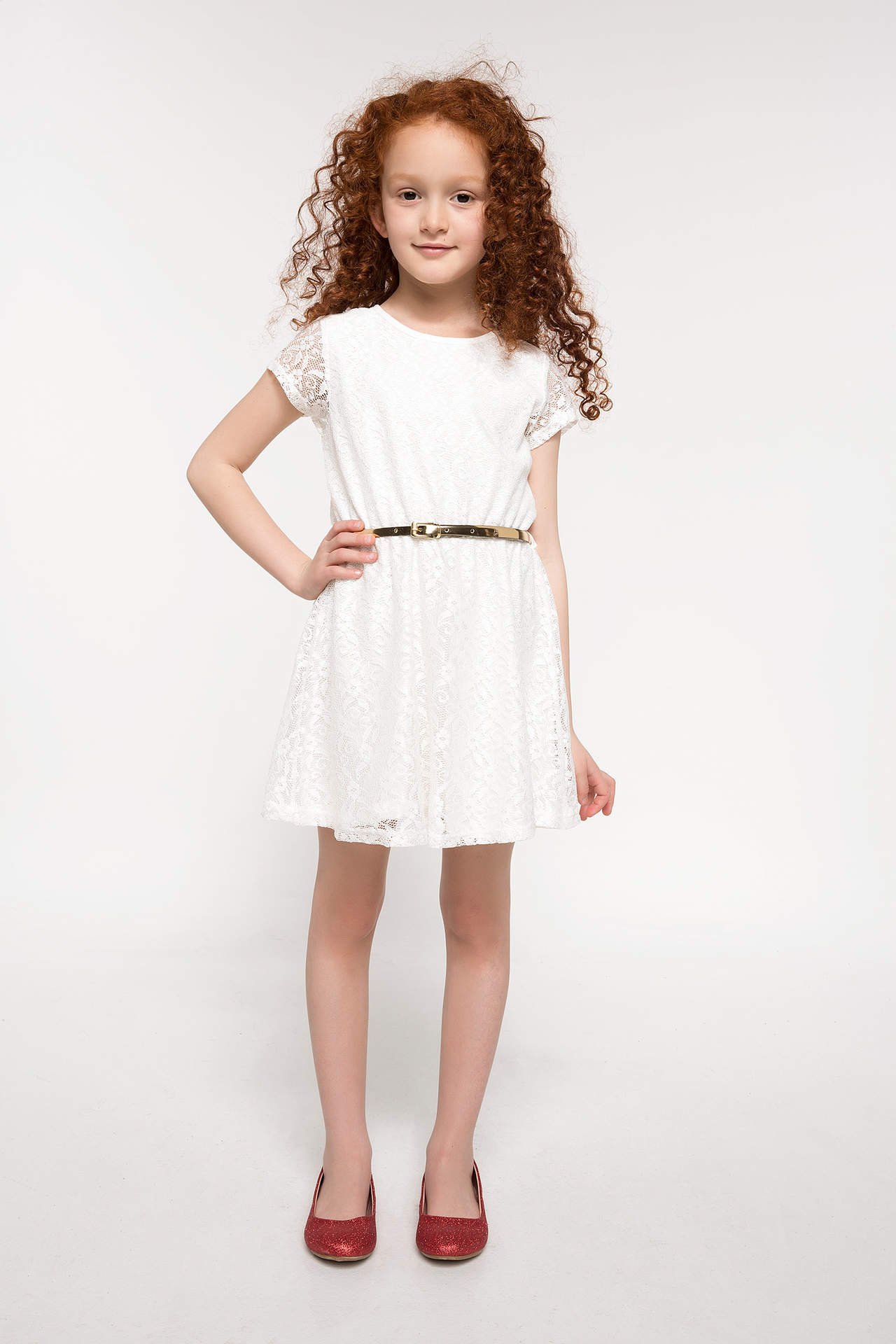 DeFacto Kız Çocuk Kemer Detaylı Dantelli Elbise Ekru female