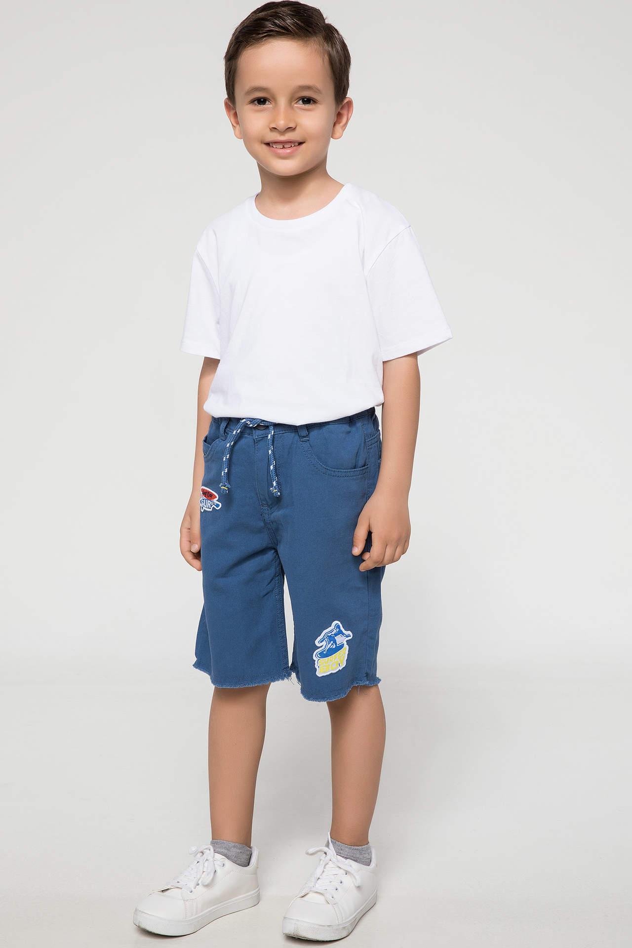 DeFacto Erkek Çocuk Patch Detaylı Bermuda Mavi male