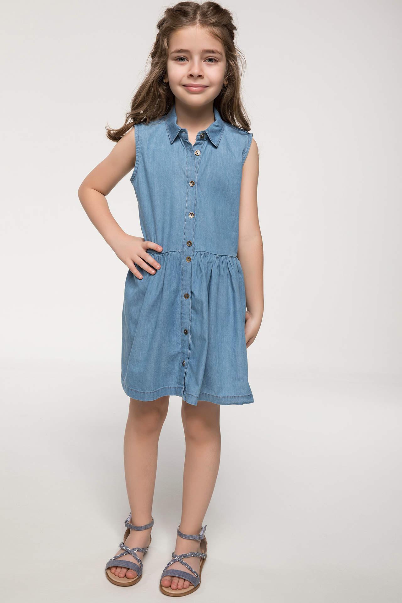 DeFacto Kız Çocuk Jean Elbise Mavi female