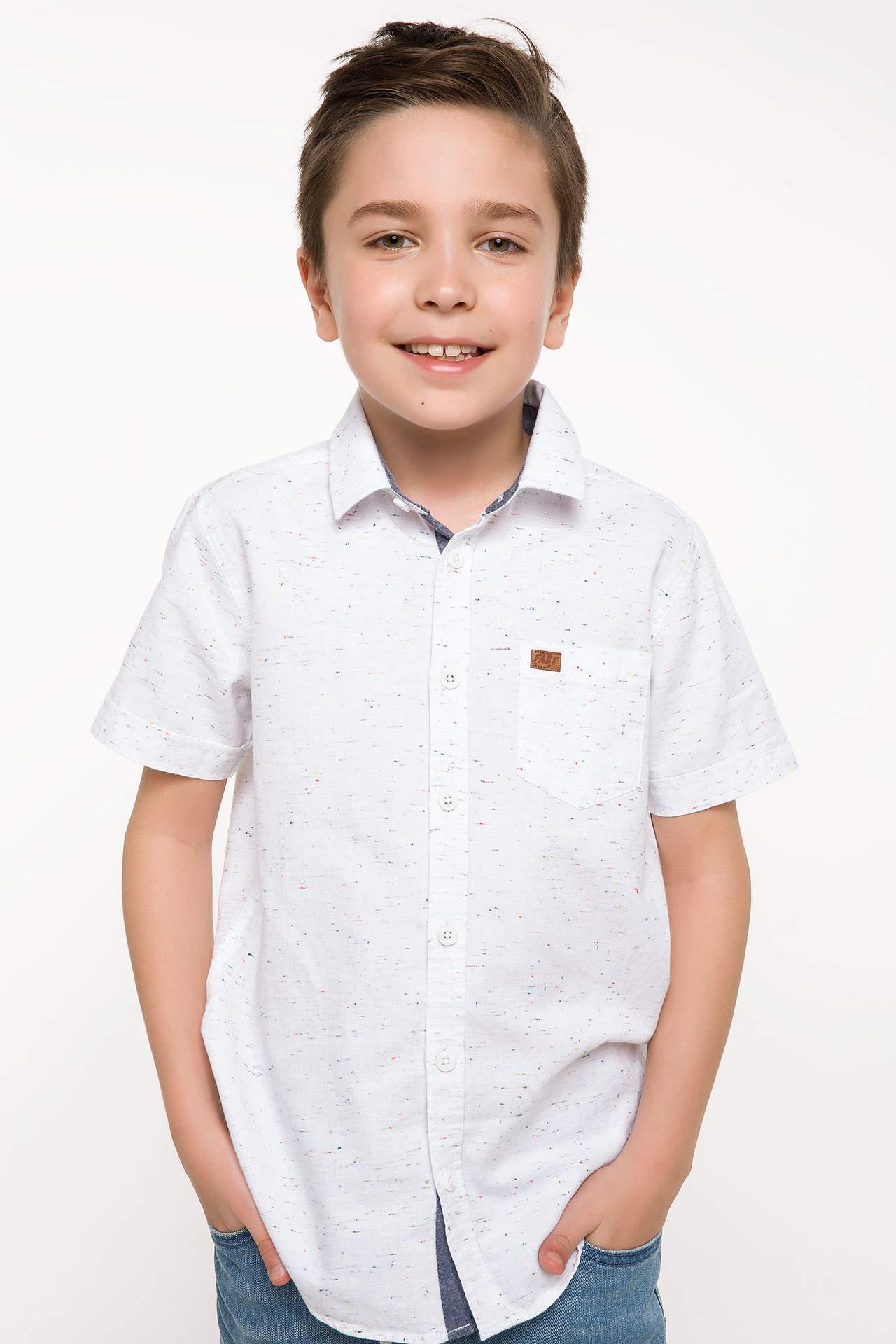 DeFacto Erkek Çocuk Tek Cep Kısa Kollu Gömlek Beyaz male