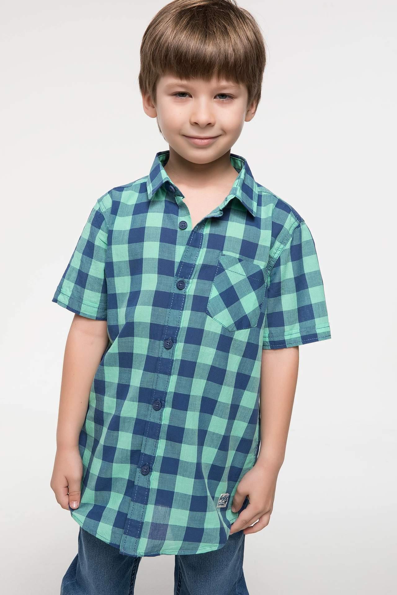 DeFacto Erkek Çocuk Ekoseli Poplin Kısa Kollu Gömlek Turkuaz male