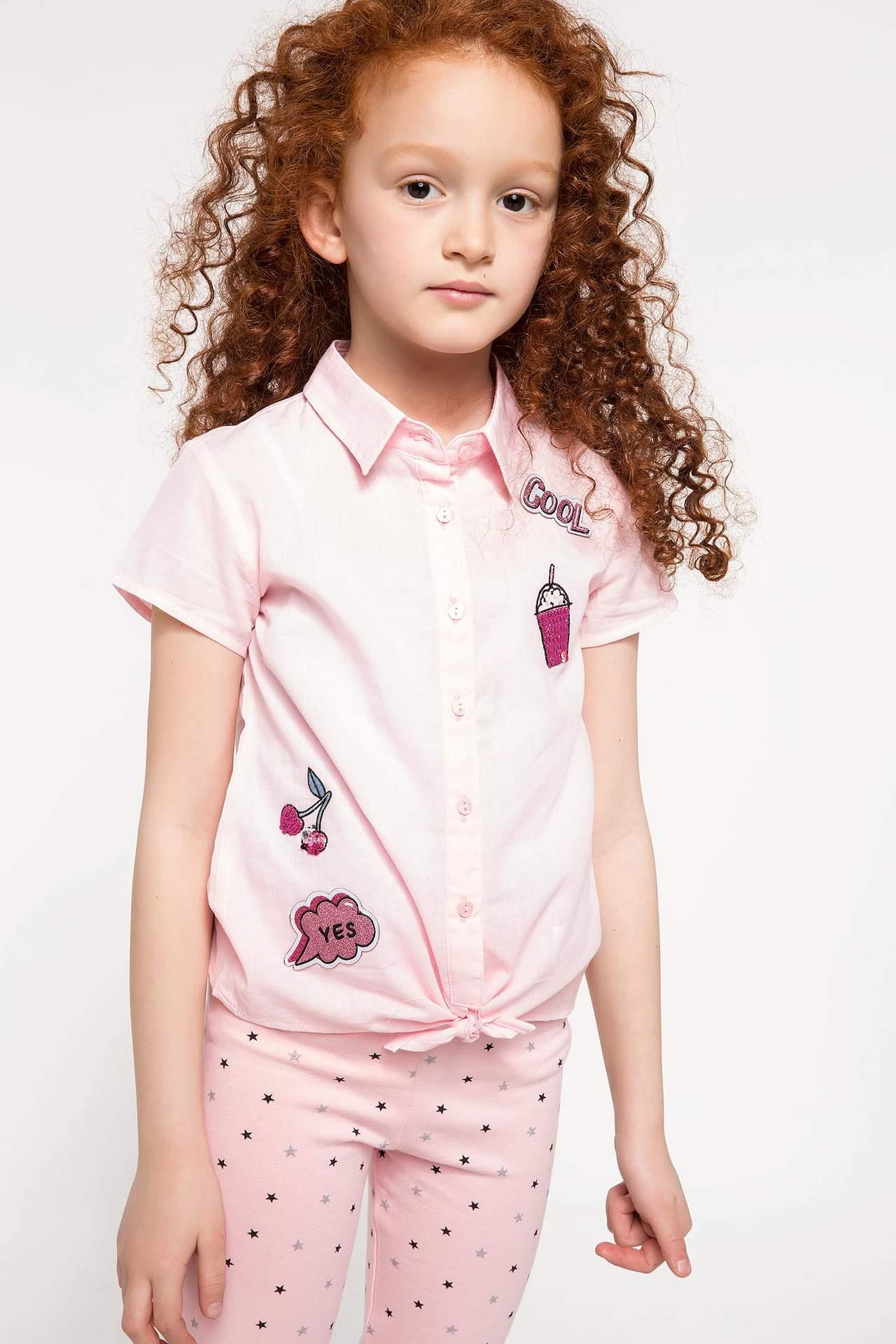 DeFacto Kız Çocuk Baskılı Kısa Kollu Gömlek Pembe female