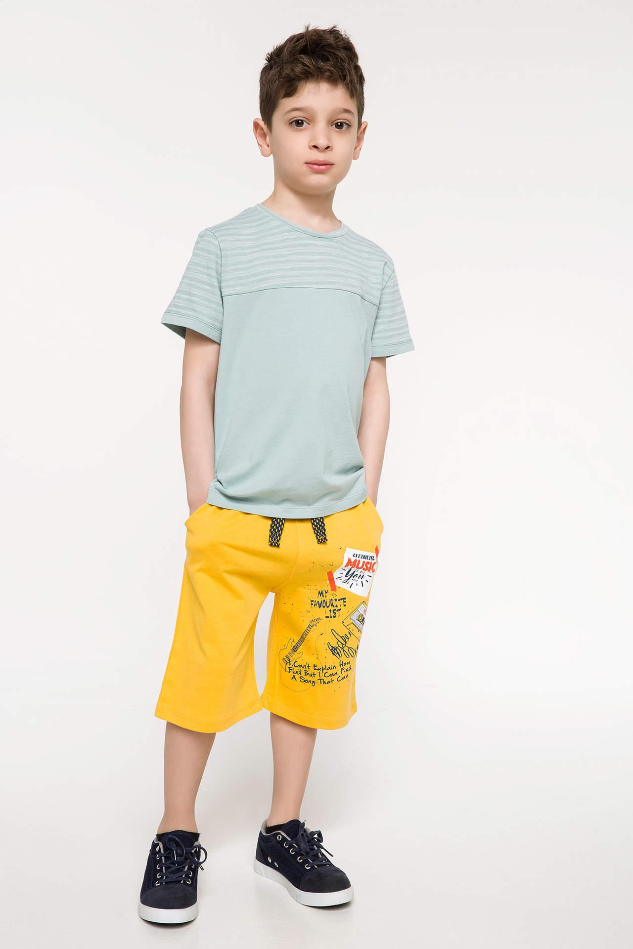DeFacto Erkek Çocuk Baskılı Bermuda Sarı male