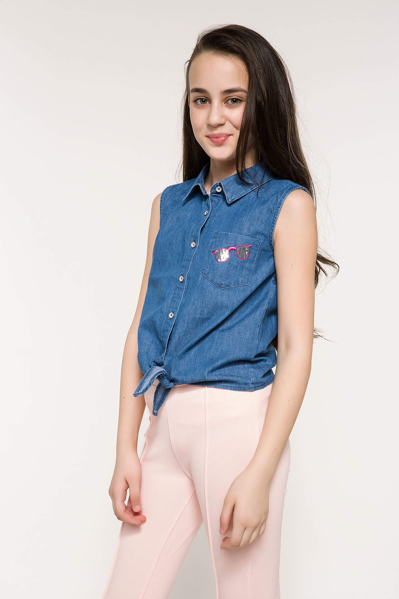 DeFacto Kız Çocuk Baskılı Denim Gömlek Mavi female