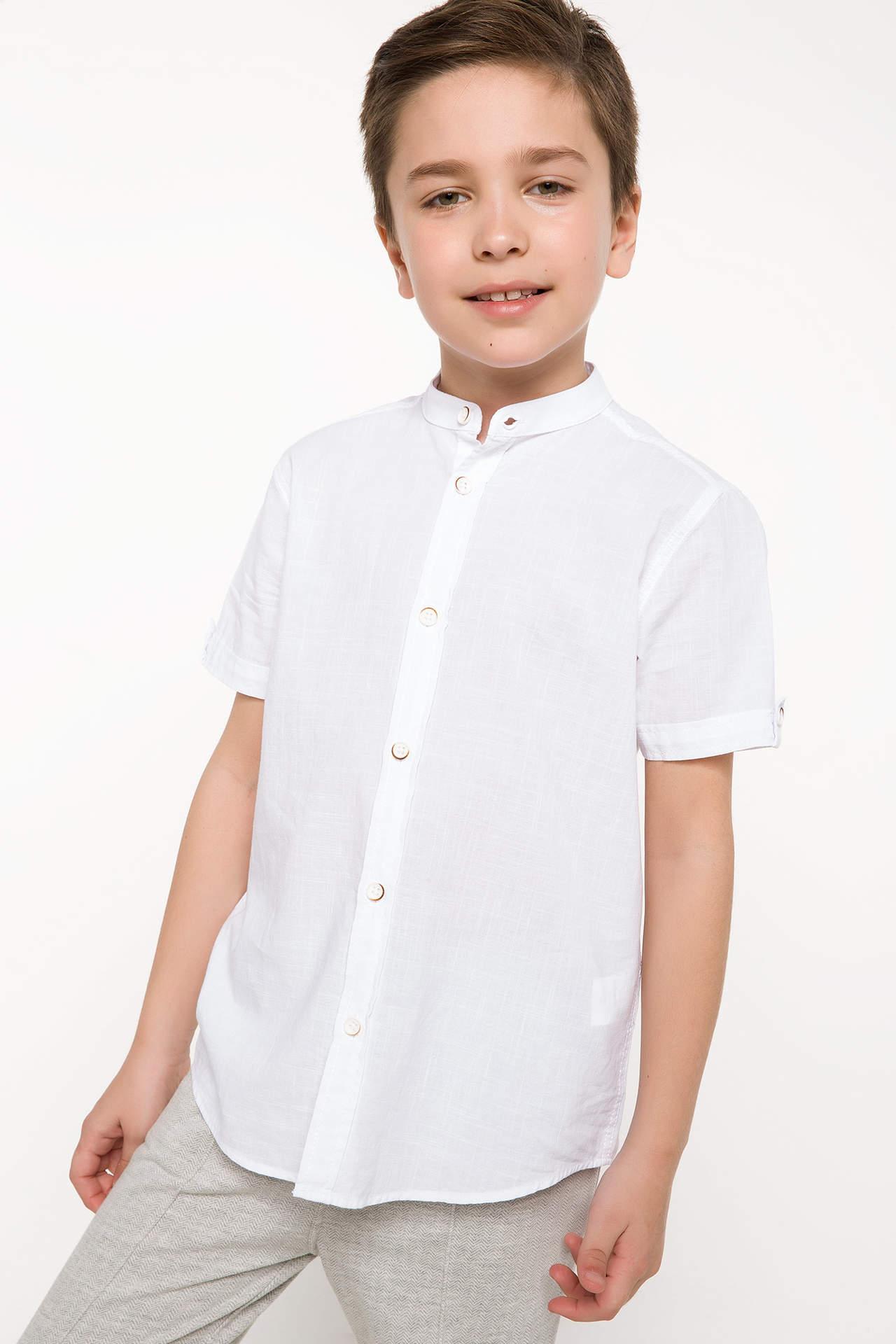 DeFacto Erkek Çocuk Kısa Kollu Hakim Yaka Gömlek Beyaz male