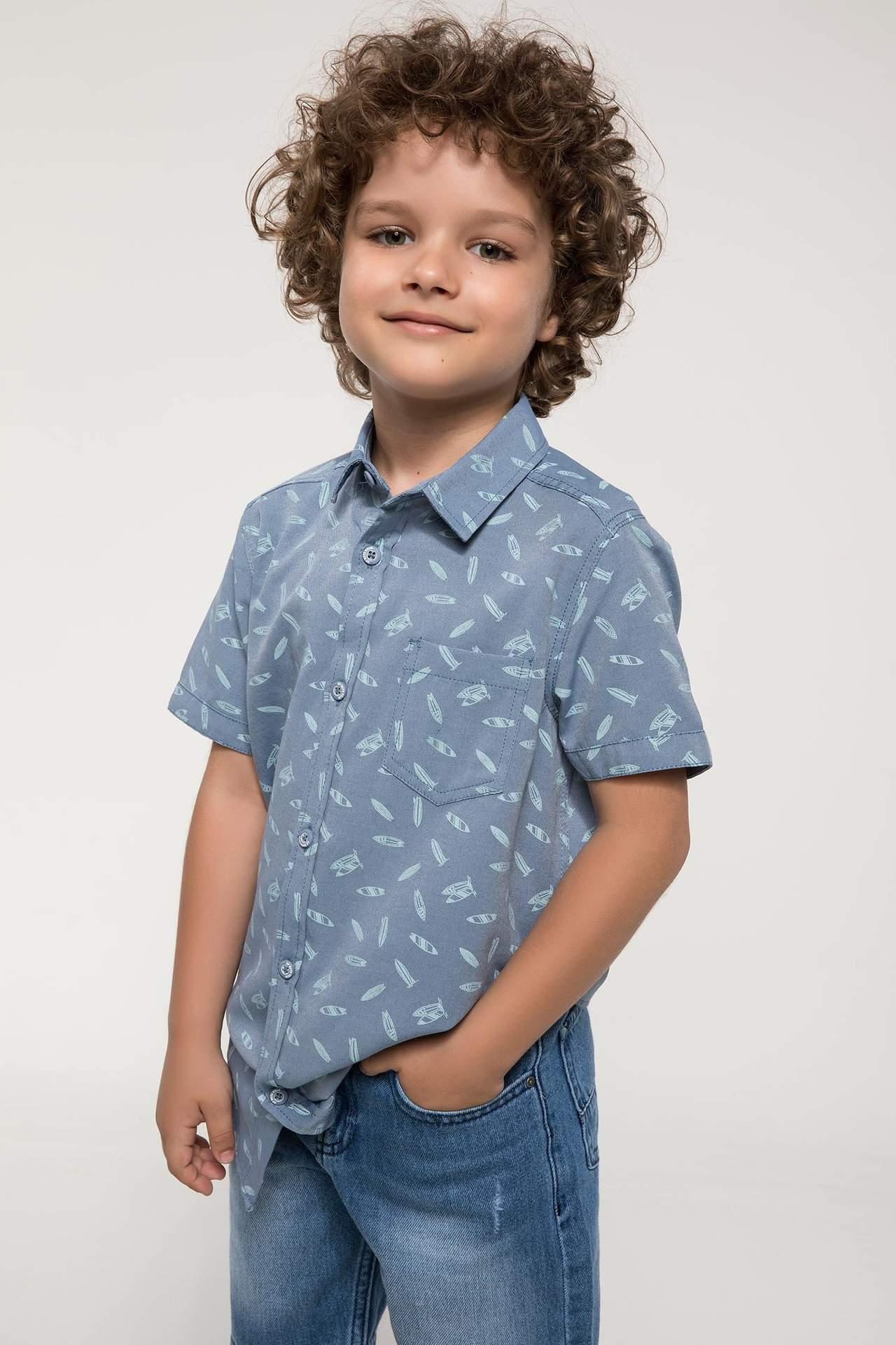 DeFacto Erkek Çocuk Polo Yaka Baskılı Gömlek Mavi male