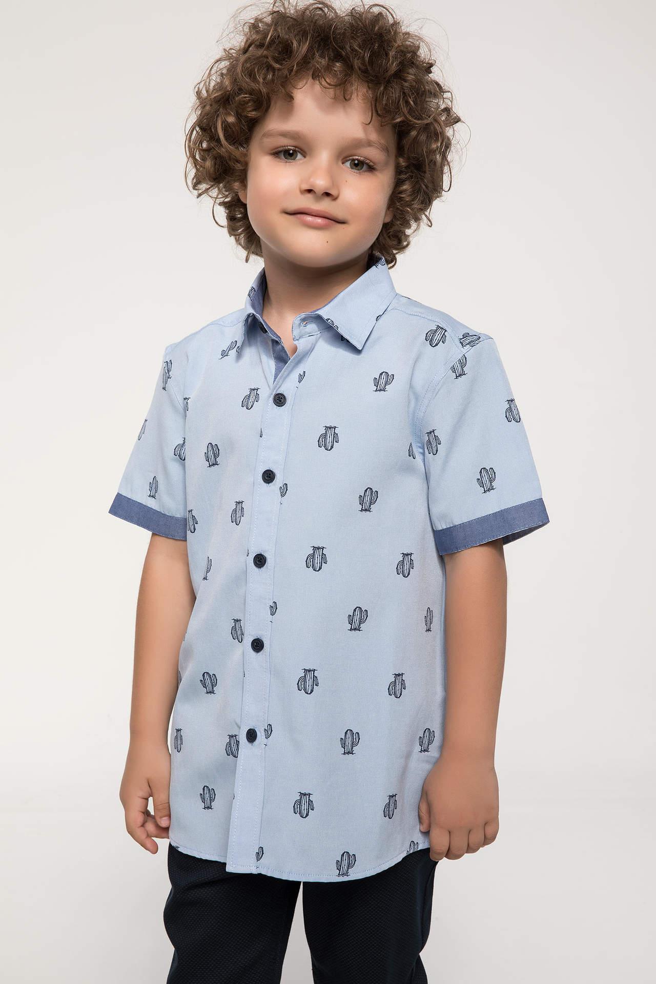 DeFacto Erkek Çocuk Vual Balık Baskılı Gömlek Mavi male