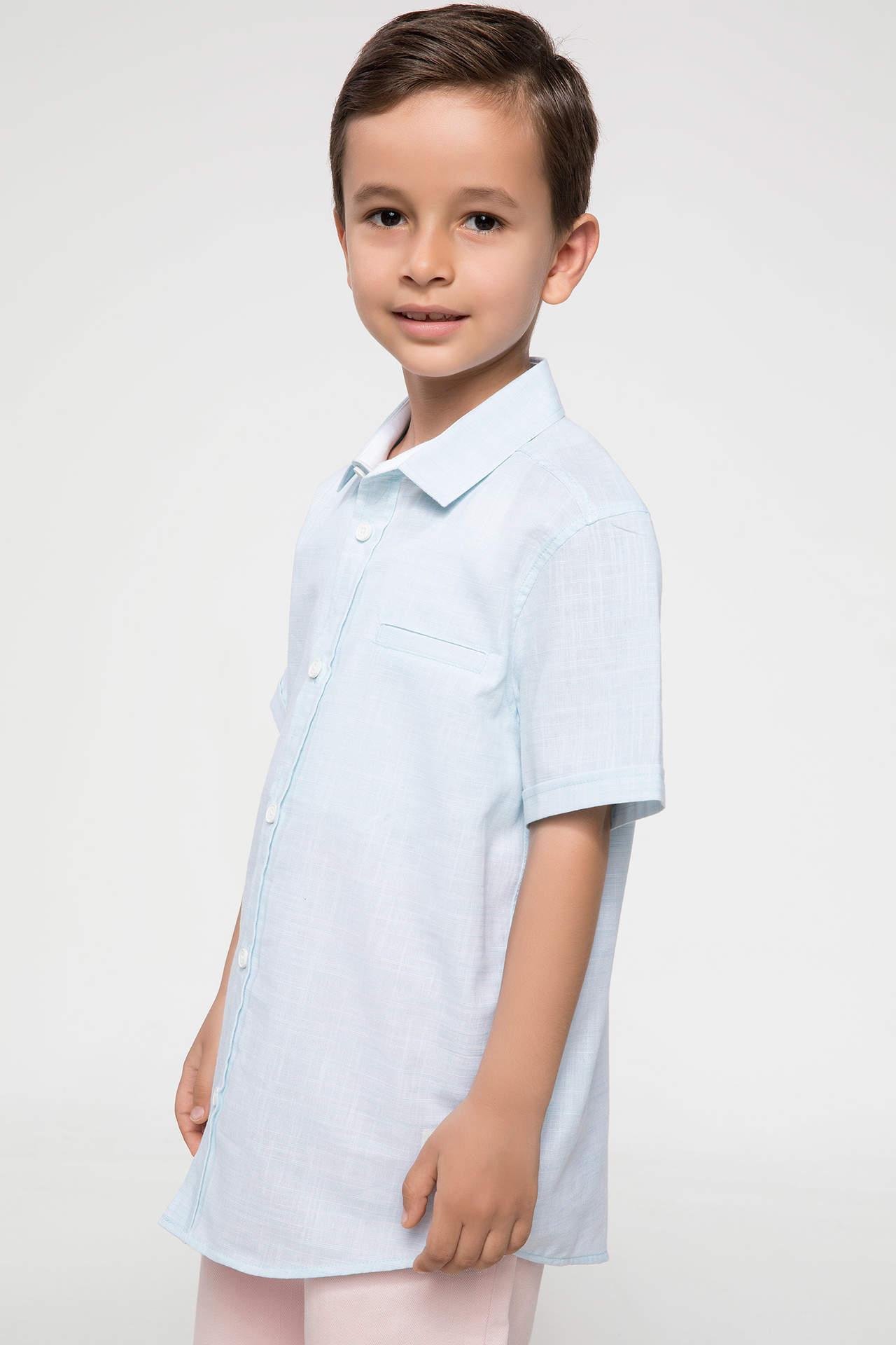 DeFacto Erkek Çocuk Tek Cep Kısa Kollu Gömlek Turkuaz male