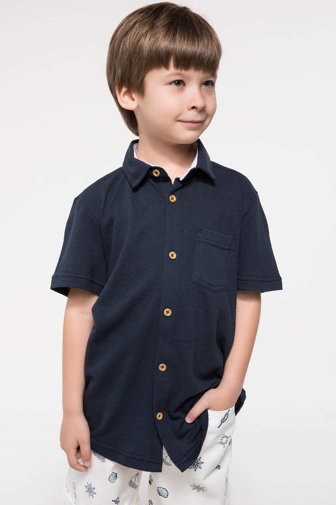 DeFacto Erkek Çocuk Polo Yaka Tek Cep Gömlek Mavi male