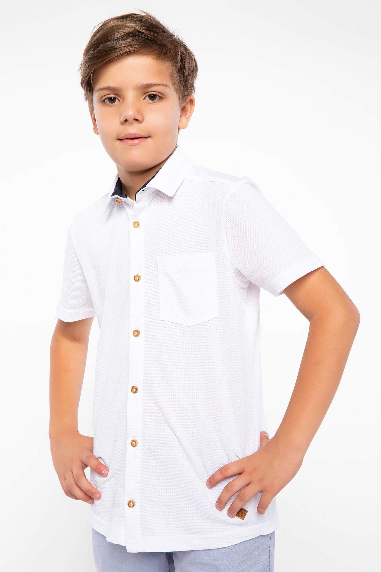 DeFacto Erkek Çocuk Polo Yaka Tek Cep Gömlek Beyaz male
