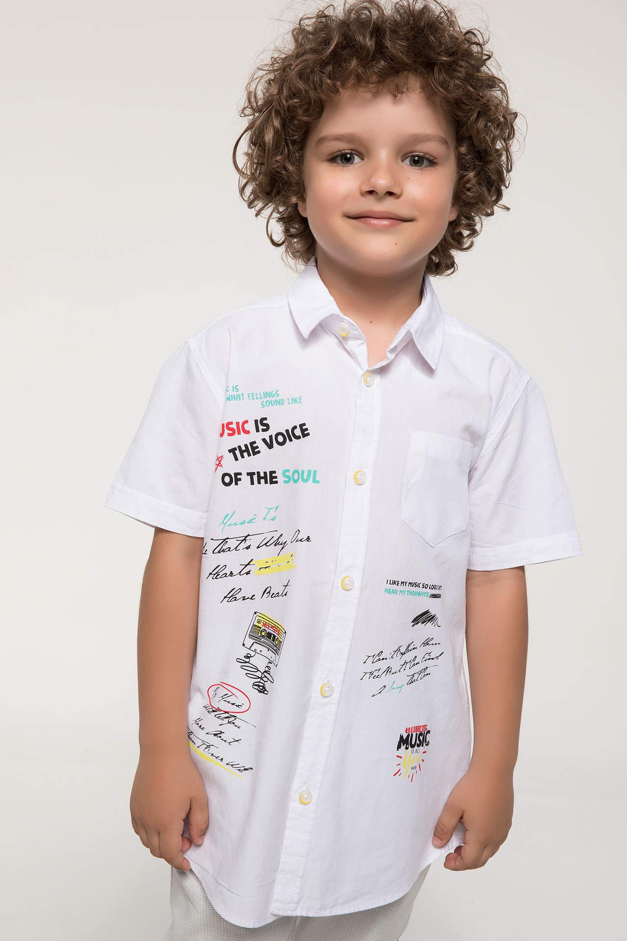 DeFacto Erkek Çocuk Yazı Baskılı Poplin Gömlek Beyaz male