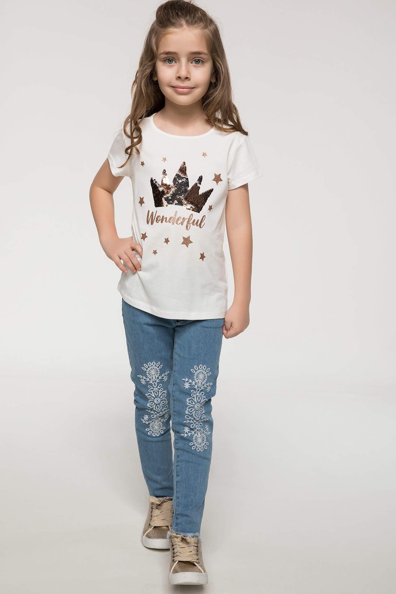 DeFacto Kız Çocuk İşleme Detaylı Slim Fit Jean Pantolon Mavi female