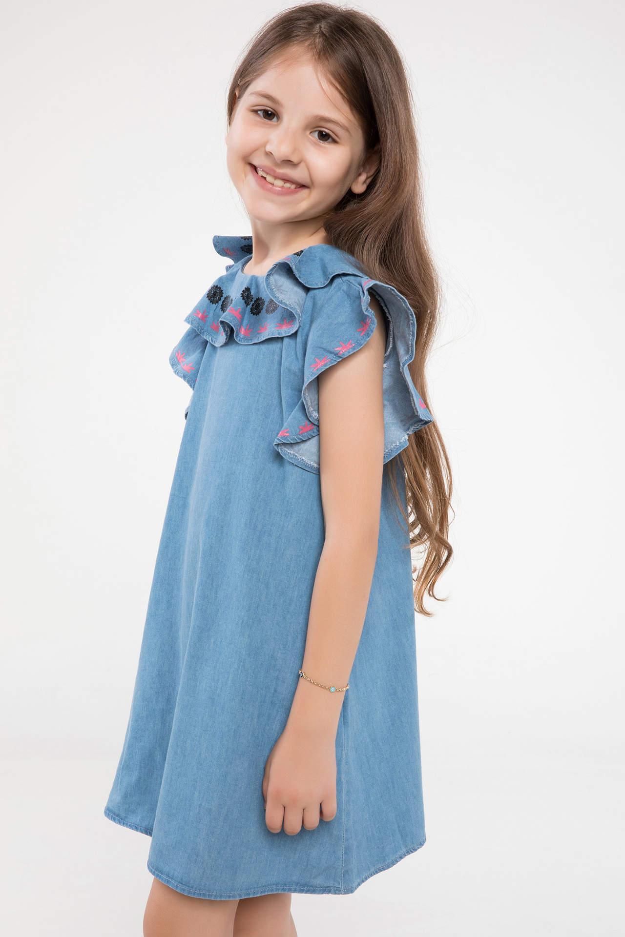 DeFacto Kız Çocuk Kol ve Yaka Fırfır Detaylı Jean Elbise Mavi female