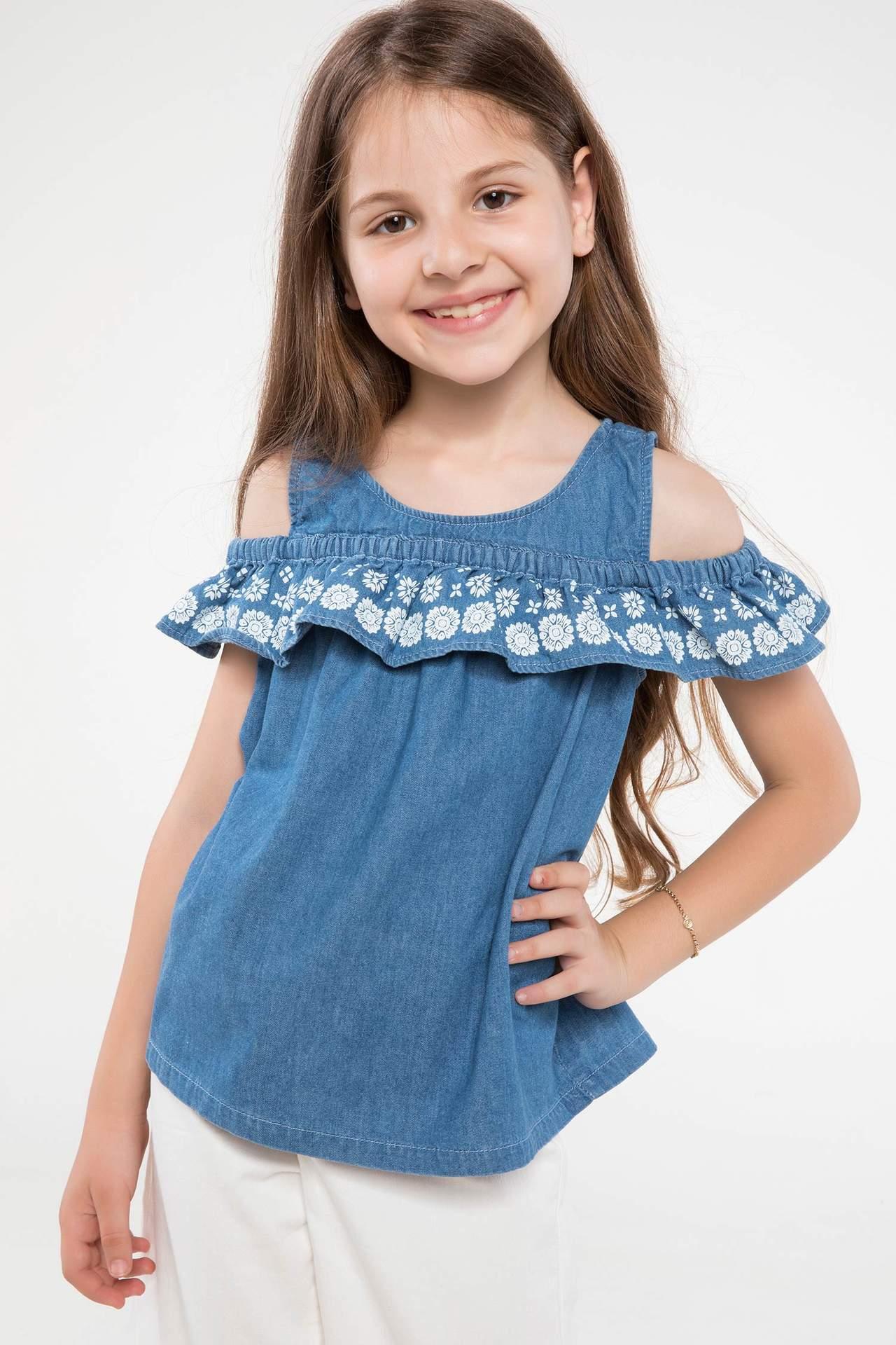 DeFacto Kız Çocuk Omuz Pencereli Fırfır Detaylı Jean Bluz Mavi female