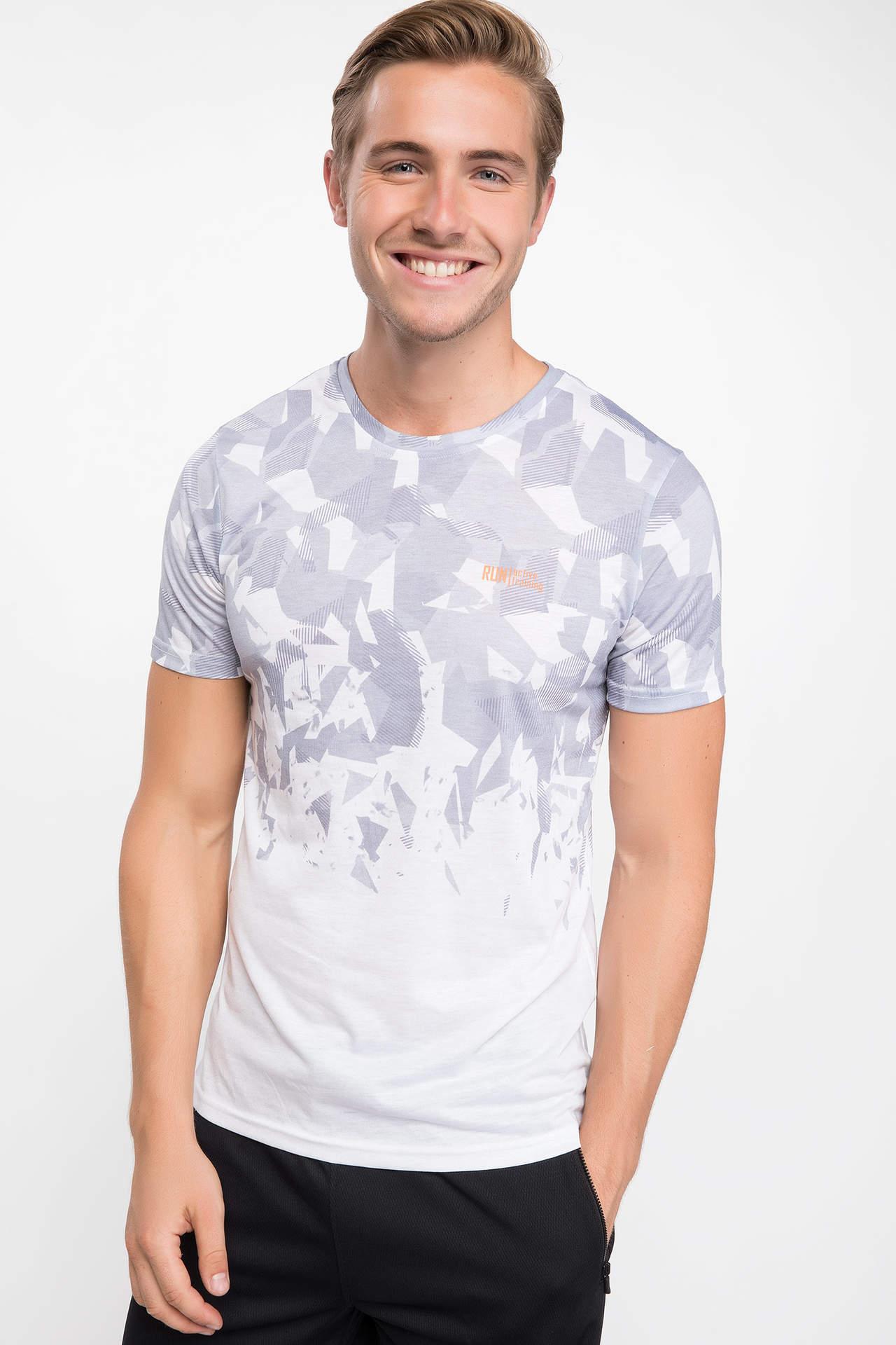 DeFacto Erkek Geometrik Desenli Bisiklet Yaka Sporcu T-shirt Beyaz male