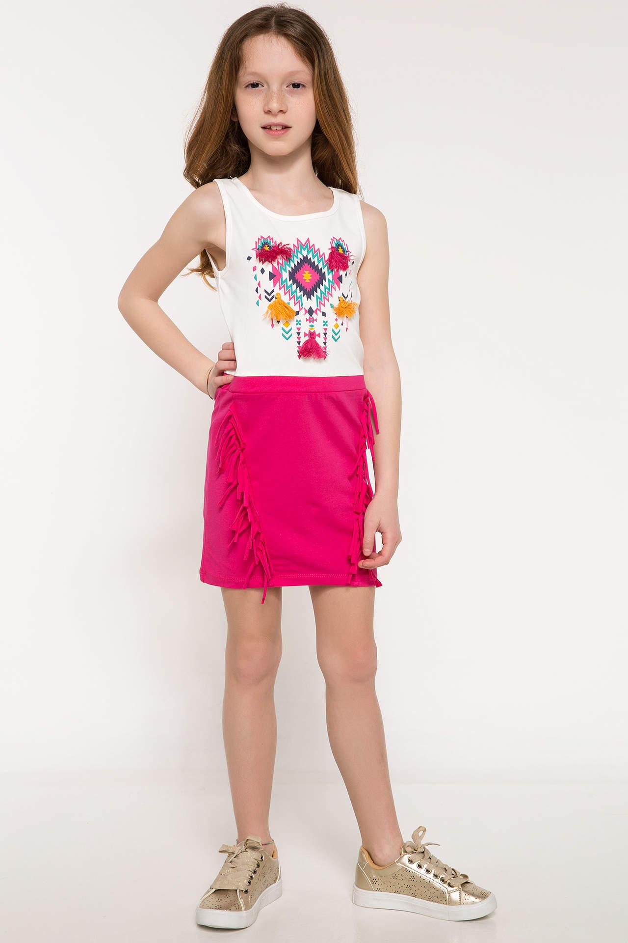 DeFacto Kız Çocuk Etnik Baskılı Elbise Ekru female