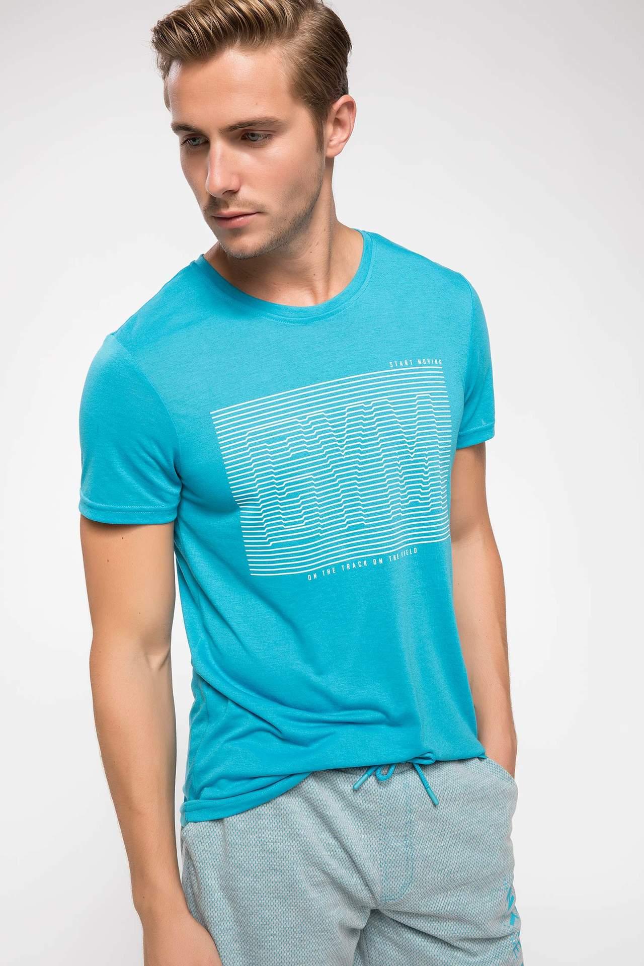 DeFacto Erkek 3D Baskılı Slim Fit Sporcu T-shirt Turkuaz male