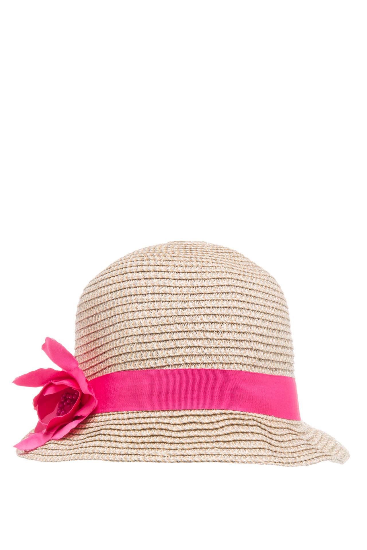DeFacto Kız Çocuk Pembe Şerit Detaylı Hasır Şapka Bej female