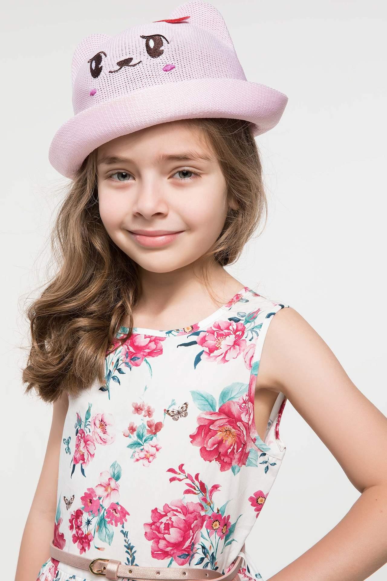 DeFacto Kız Çocuk Kedi Motifli Sevimli Şapka Pembe female