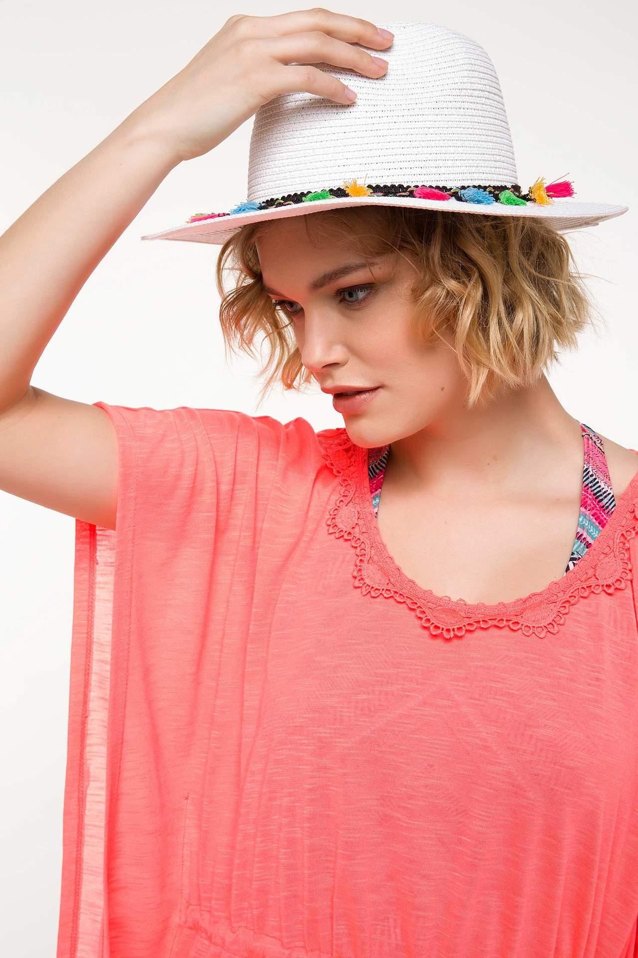 DeFacto Kız Çocuk Püskül Şerit Detaylı Hasır Şapka Beyaz female