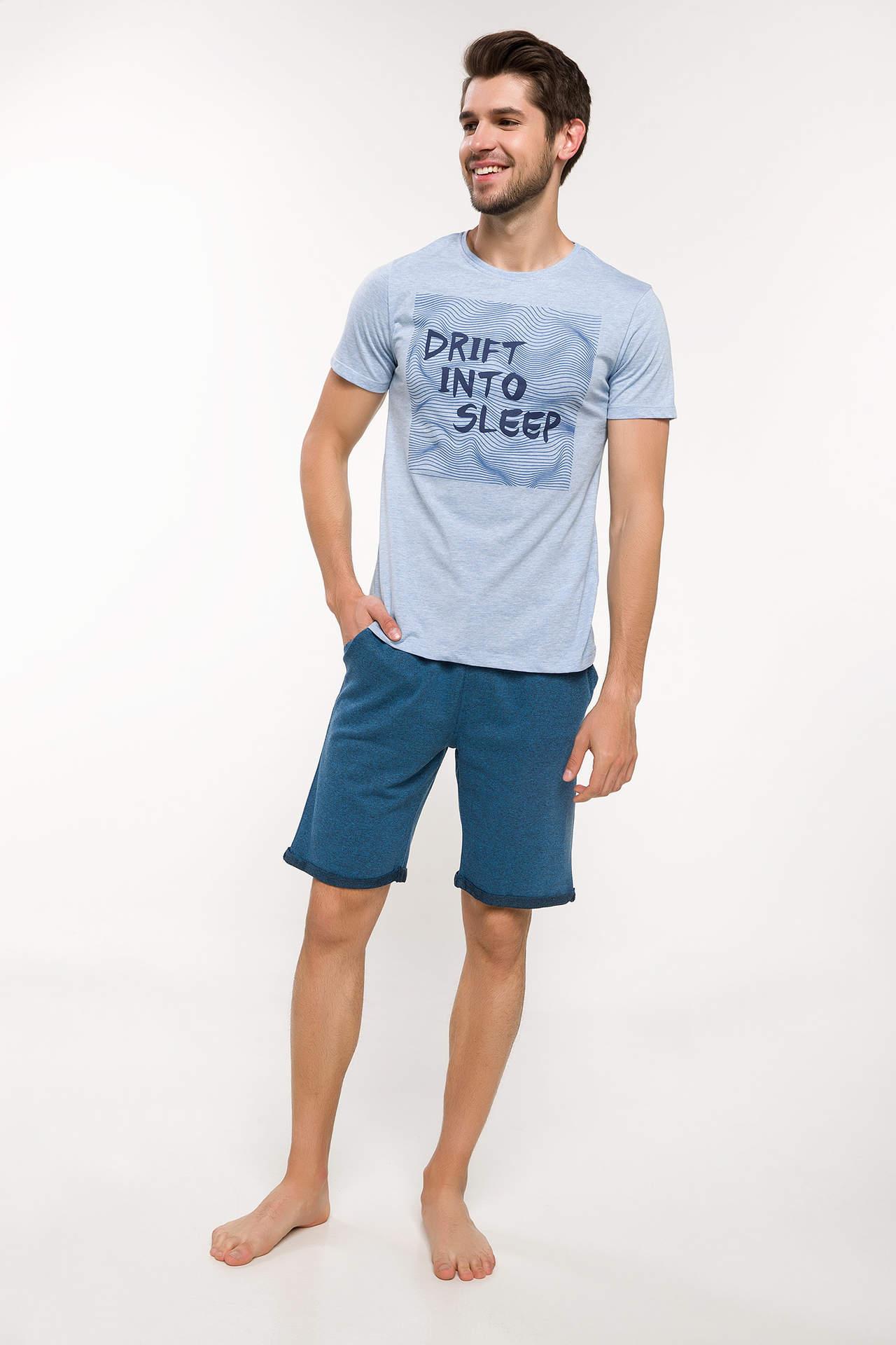 DeFacto Erkek Slim Fit Pijama Takımı Lacivert male