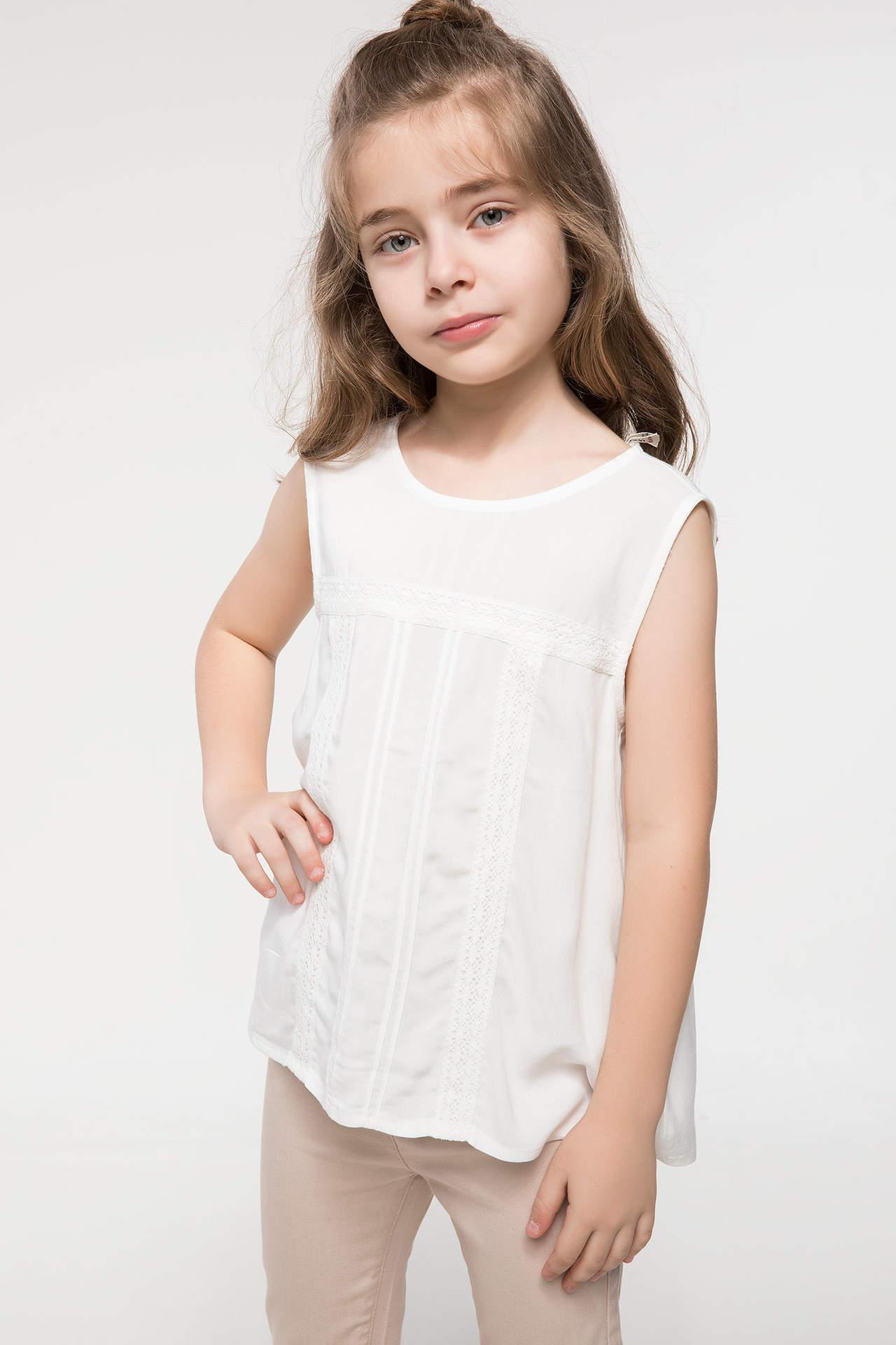 DeFacto Kız Çocuk Kolsuz Bluz Ekru female