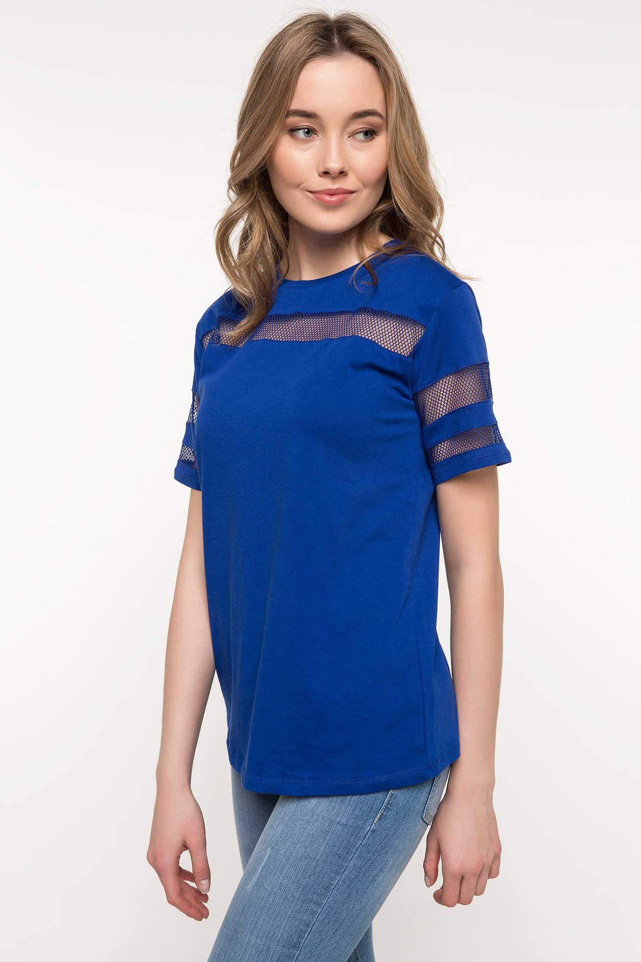 DeFacto Kadın Kısa Kollu File Detaylı T-shirt Mavi female