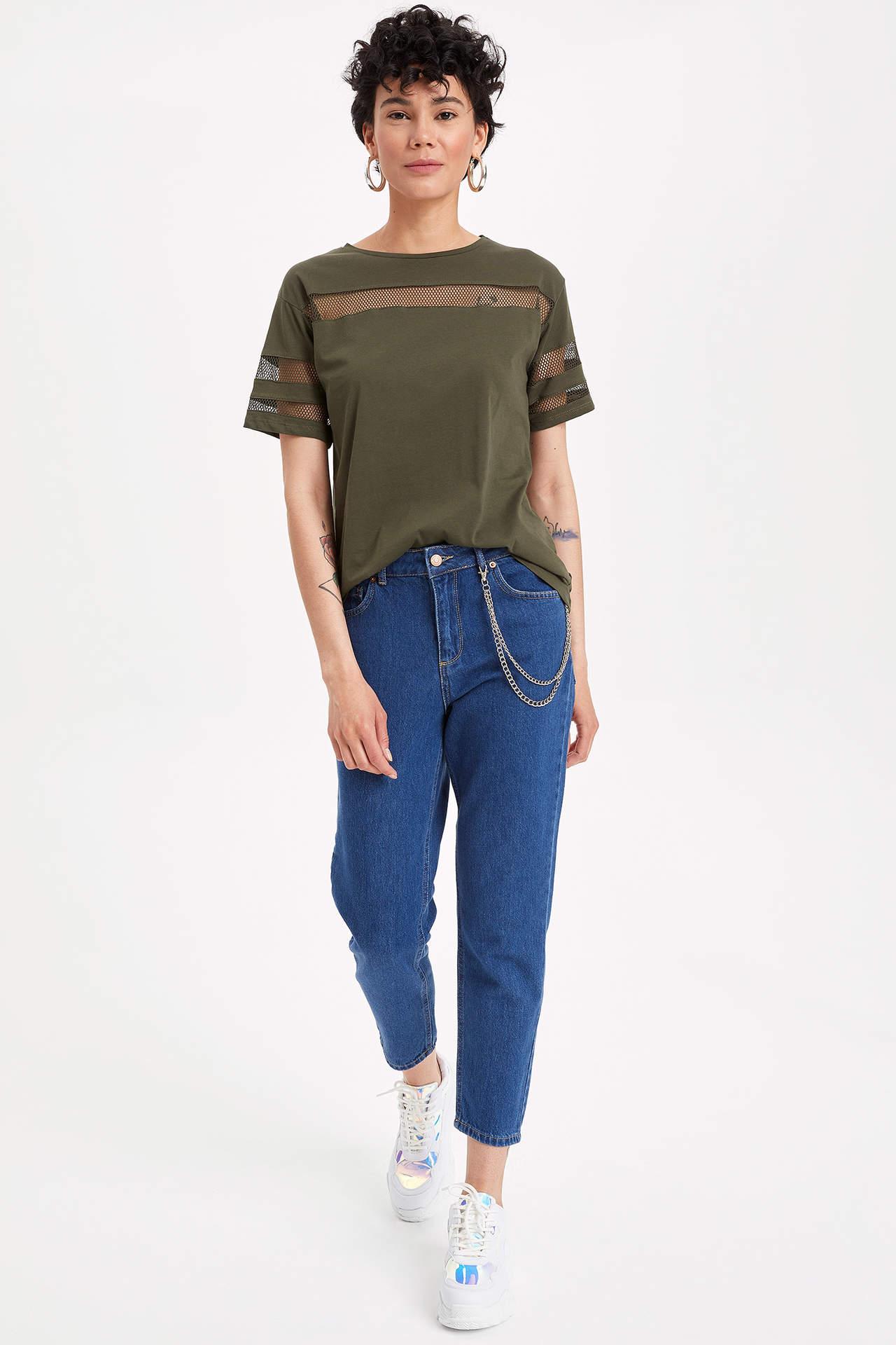 DeFacto Kadın Kısa Kollu File Detaylı T-shirt Haki female