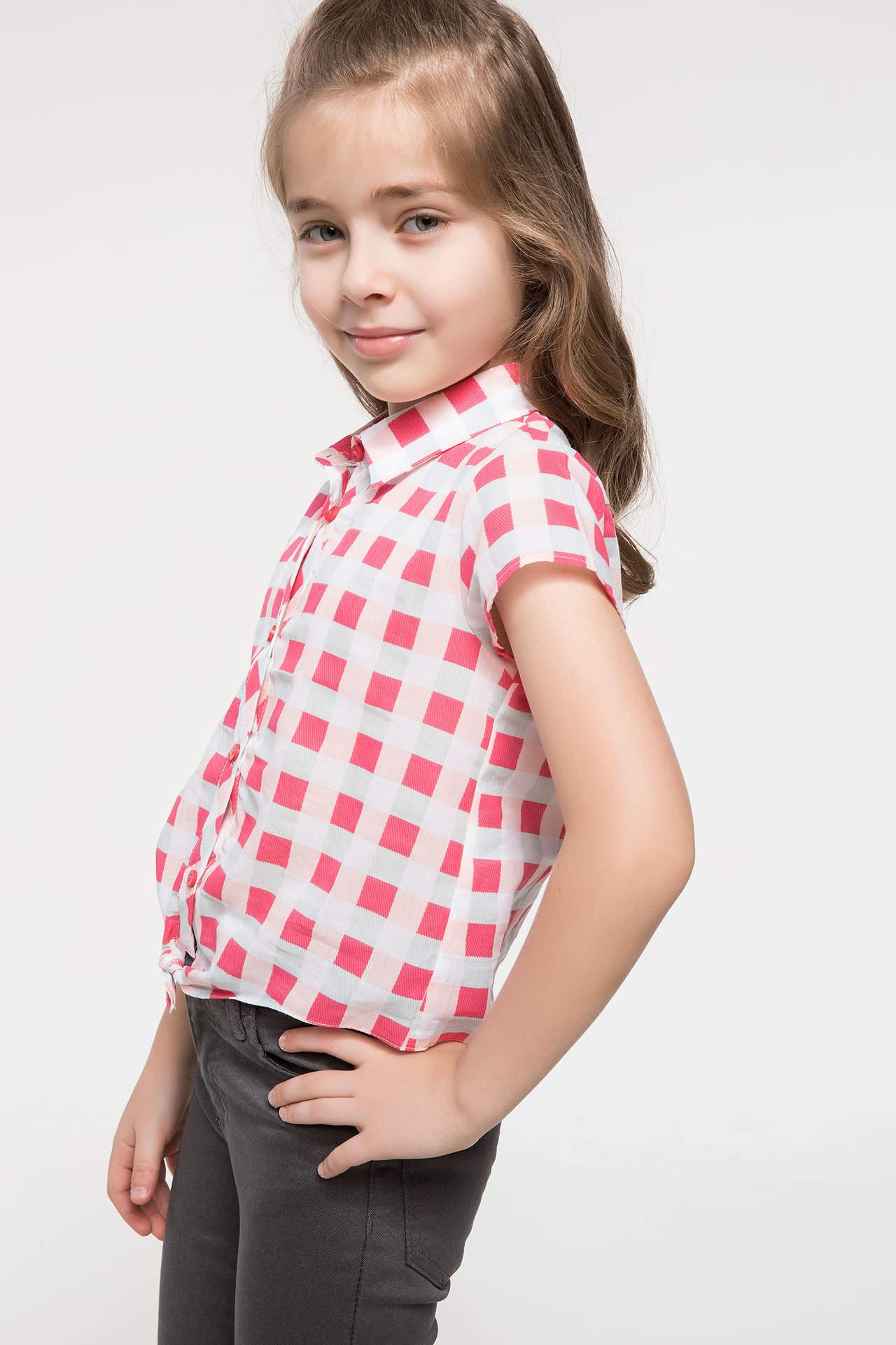 DeFacto Kız Çocuk Bağlama Detaylı Ekoseli Gömlek Kırmızı female