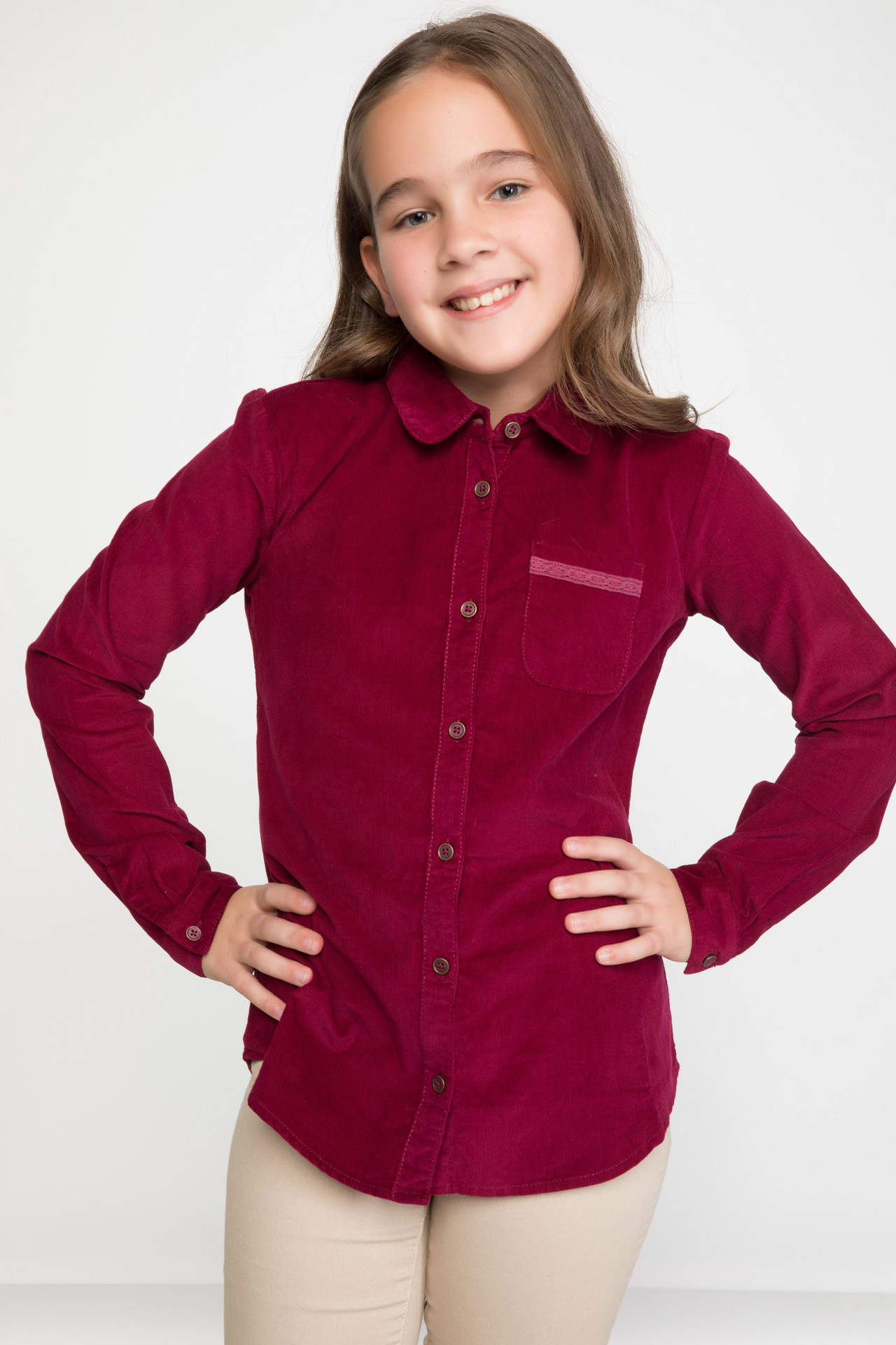 DeFacto Kız Çocuk Dantel Detaylı Uzun Kollu Gömlek Bordo female