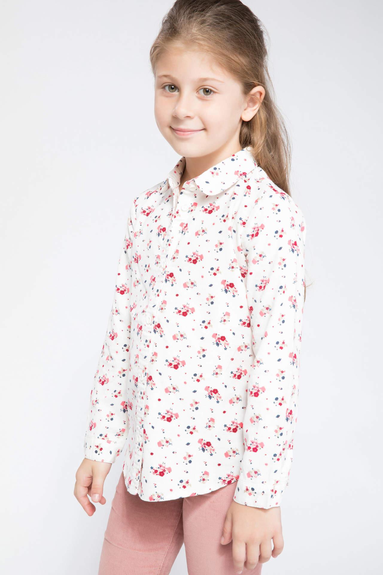 DeFacto Kız Çocuk Floral Desenli Uzun Kollu Gömlek Ekru female