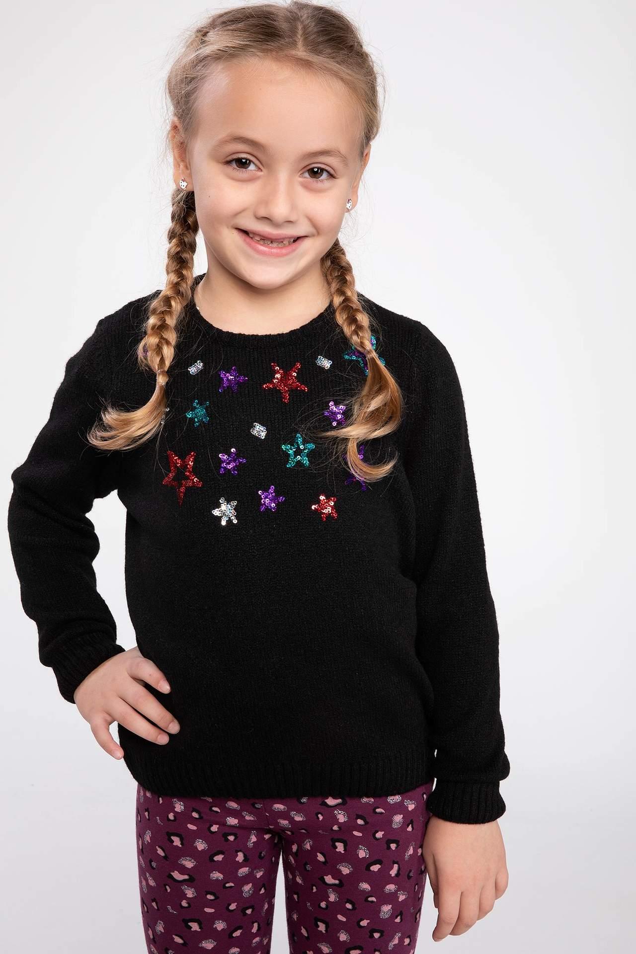 DeFacto Kız Çocuk Yıldız Baskılı Triko Kazak Siyah female