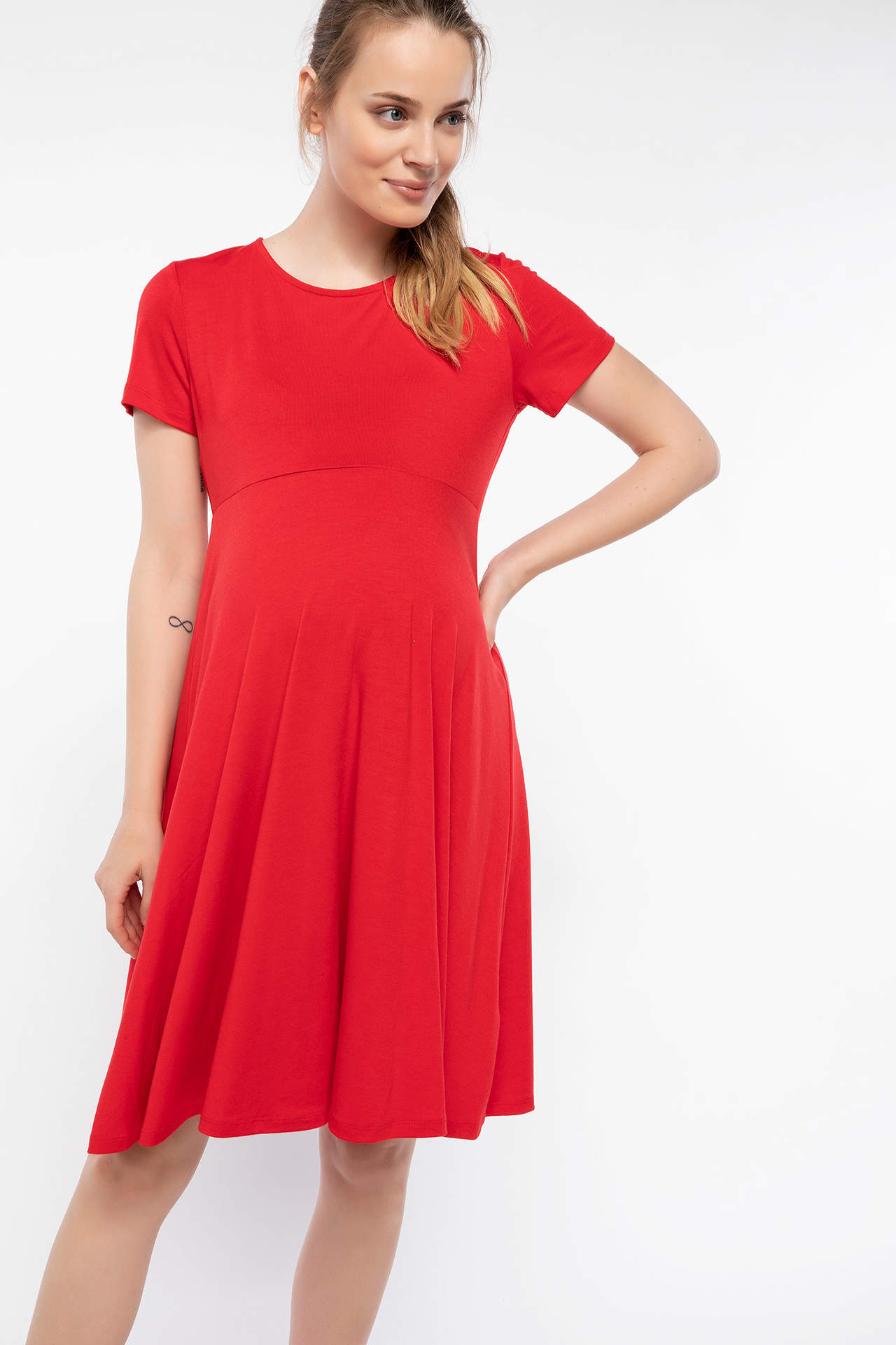 DeFacto Kadın Sırt Fiyonk Detaylı Hamile Elbisesi Kırmızı female