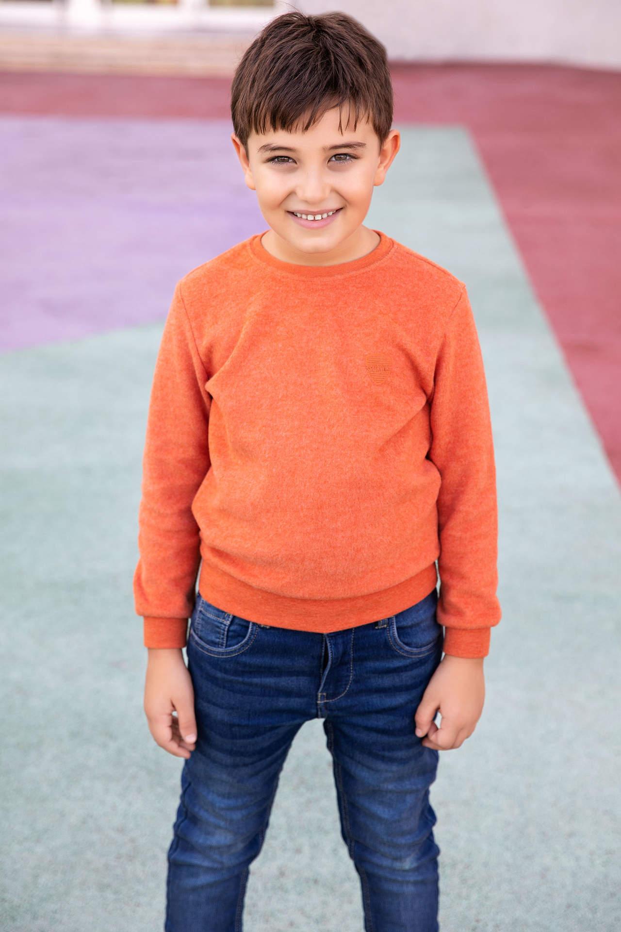 DeFacto Erkek Çocuk Basic Sweatshirt Turuncu male