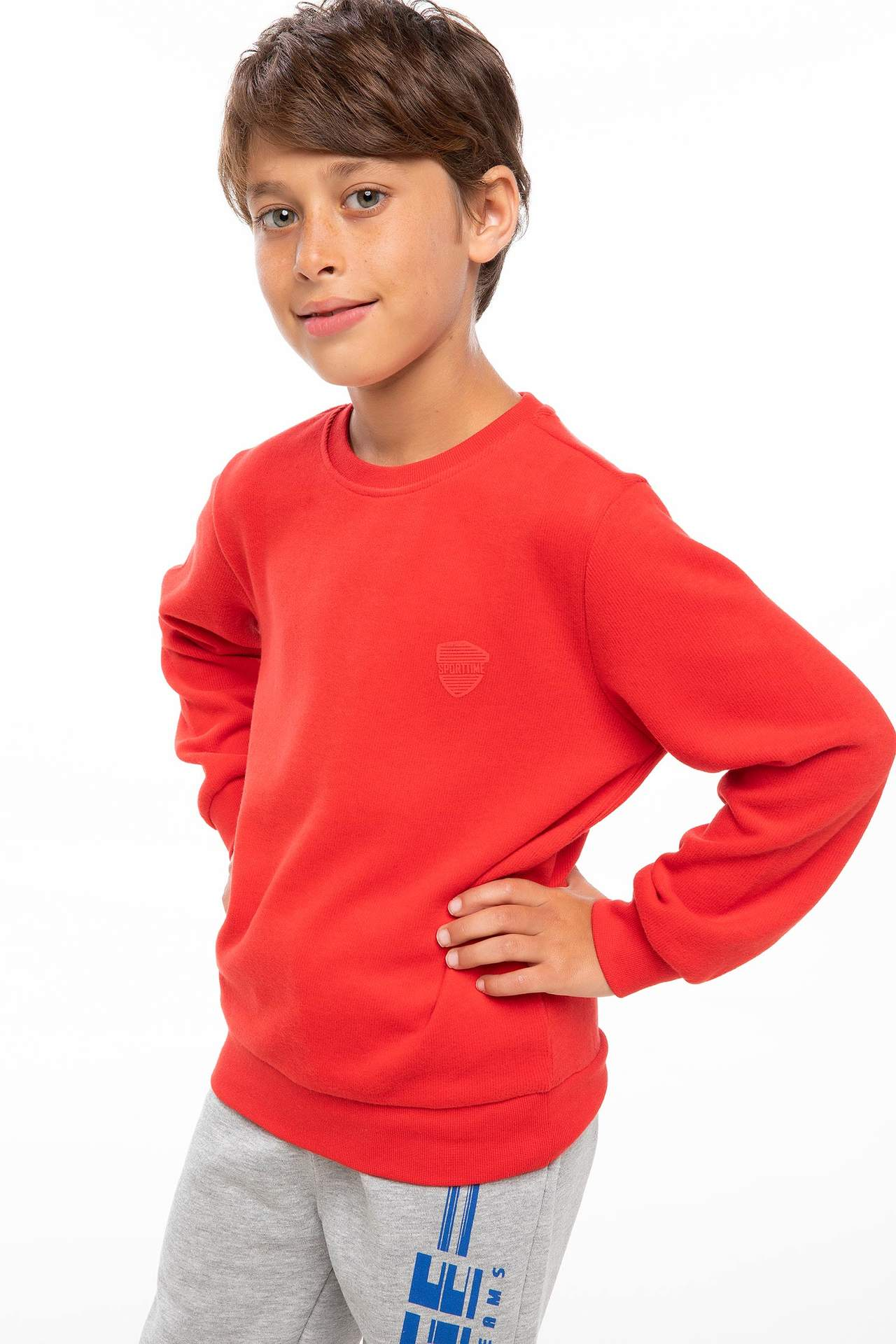 DeFacto Erkek Çocuk Basic Sweatshirt Kırmızı male