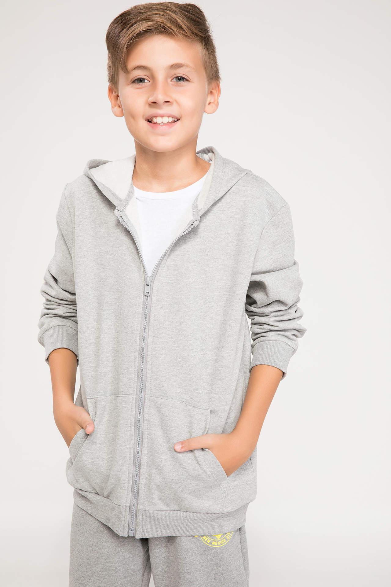 DeFacto Erkek Çocuk Kapüşonlu Sweatshirt Gri male