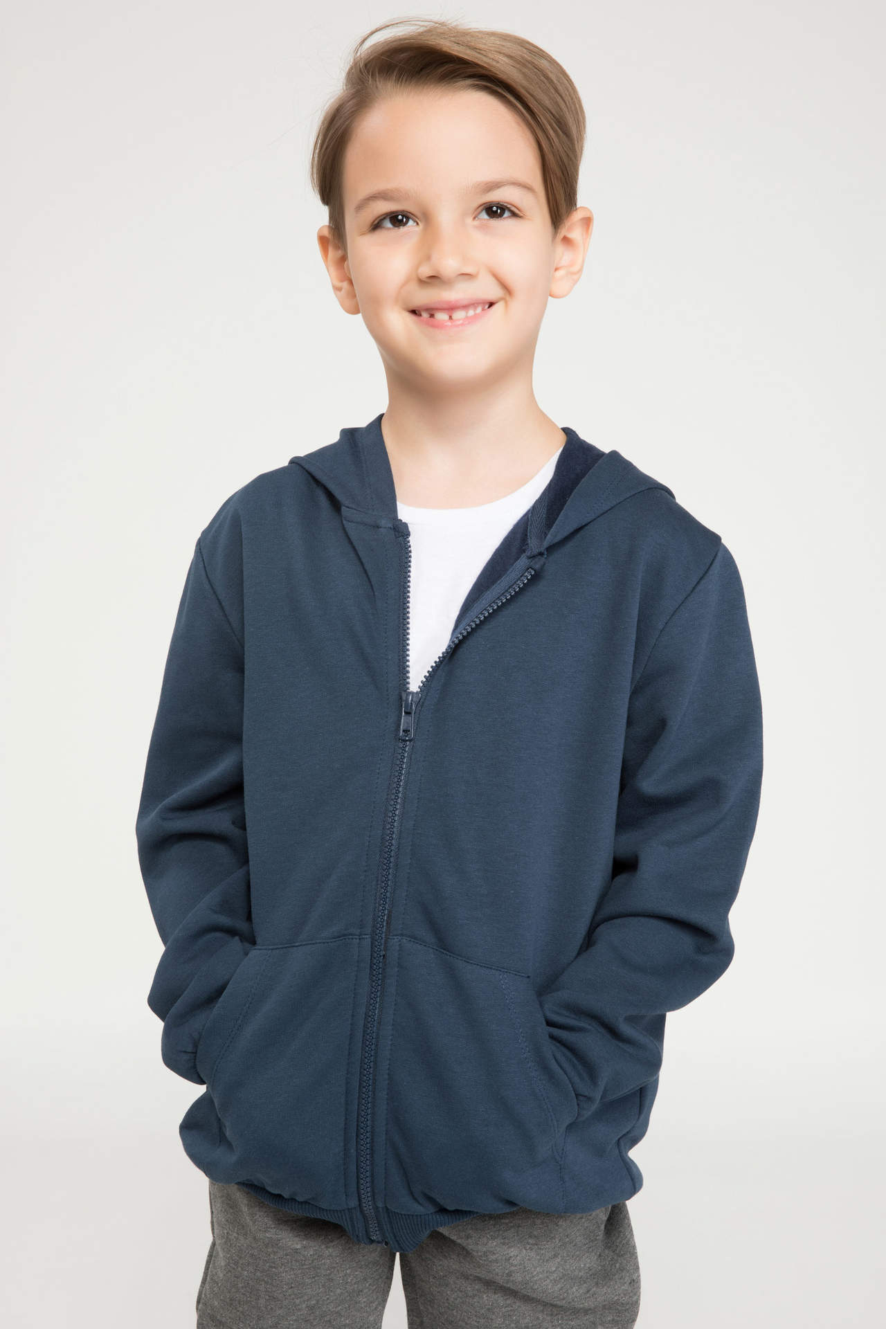 DeFacto Erkek Çocuk Kapüşonlu Sweatshirt Mavi male