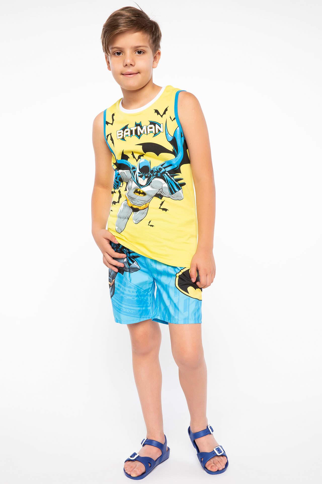 DeFacto Erkek Çocuk Batman Lisanslı Şort Atlet Set Sarı male