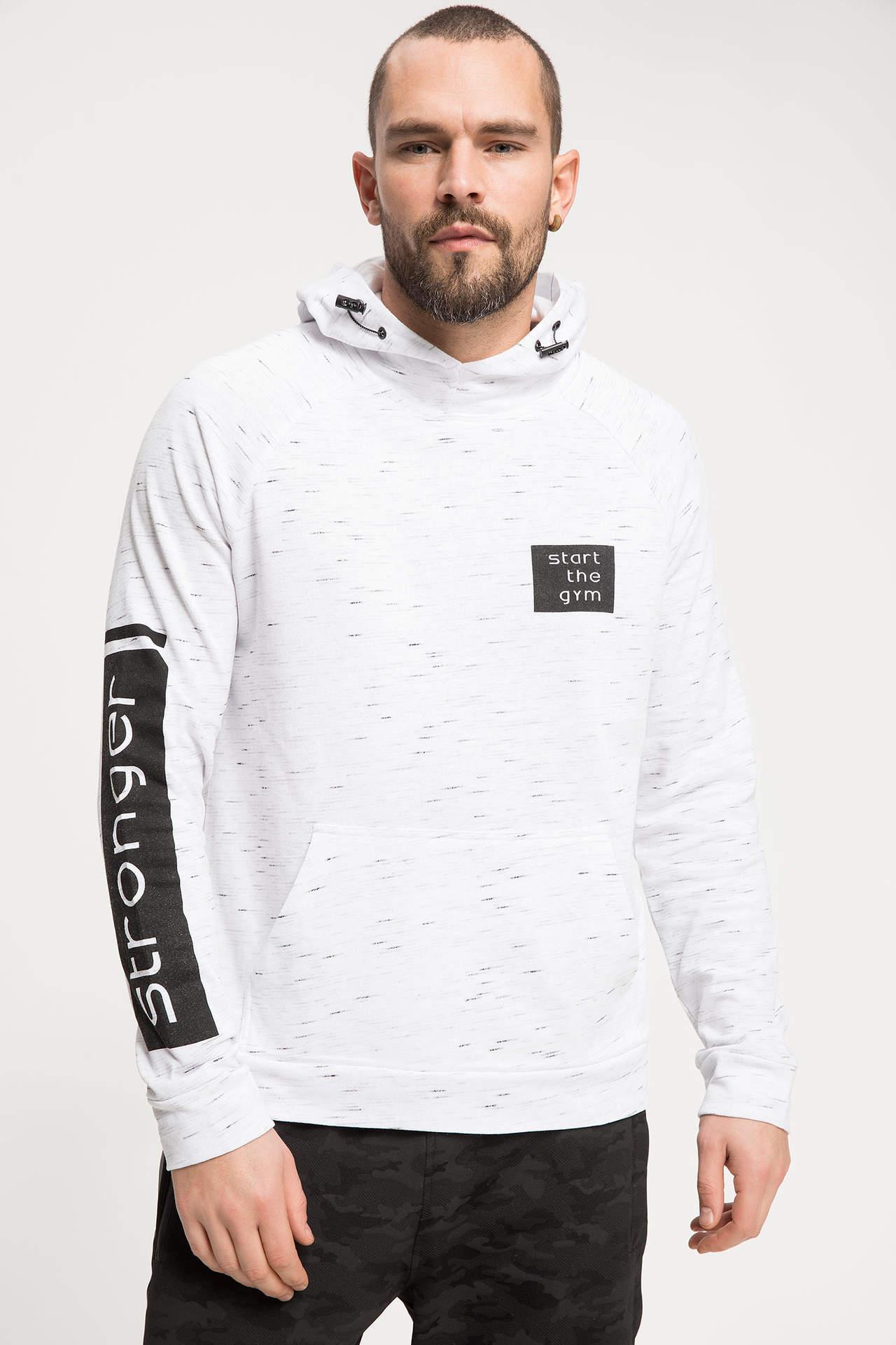 DeFacto Erkek Baskılı Kapüşonlu Sporcu Sweatshirt Gri male