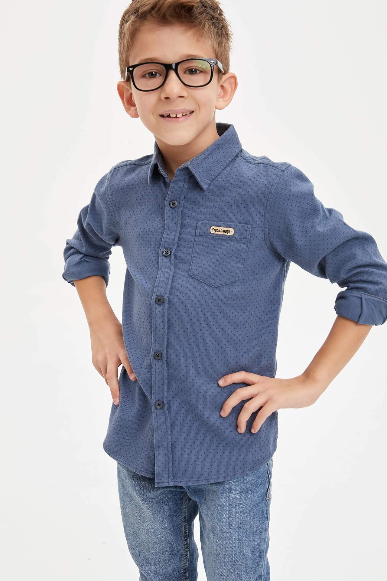 DeFacto Erkek Çocuk Tek Cepli Kadife Gömlek Mavi male