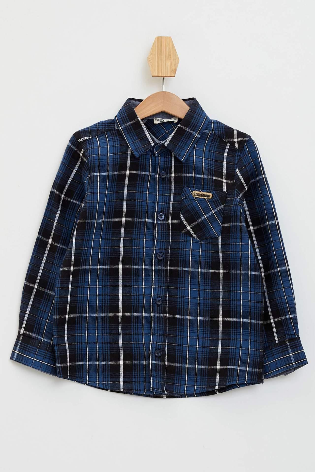 DeFacto Erkek Çocuk Patch Detaylı Tek Cepli Kadife Gömlek Lacivert male