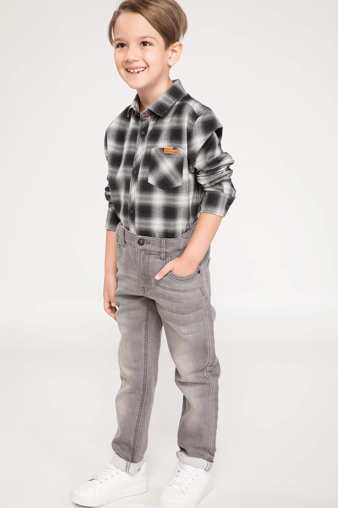 DeFacto Erkek Çocuk Slim Fit Jean Pantolon Gri male