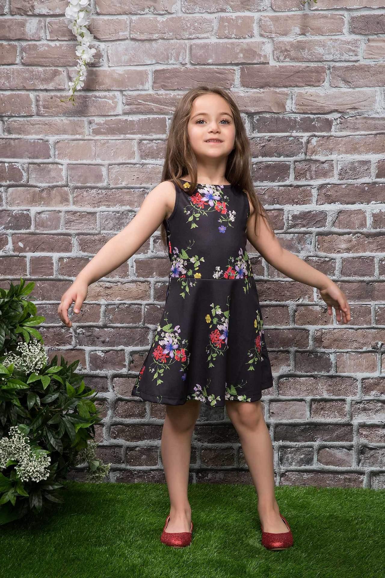DeFacto Kız Çocuk Çiçek Desenli Prenses Model Elbise Siyah female