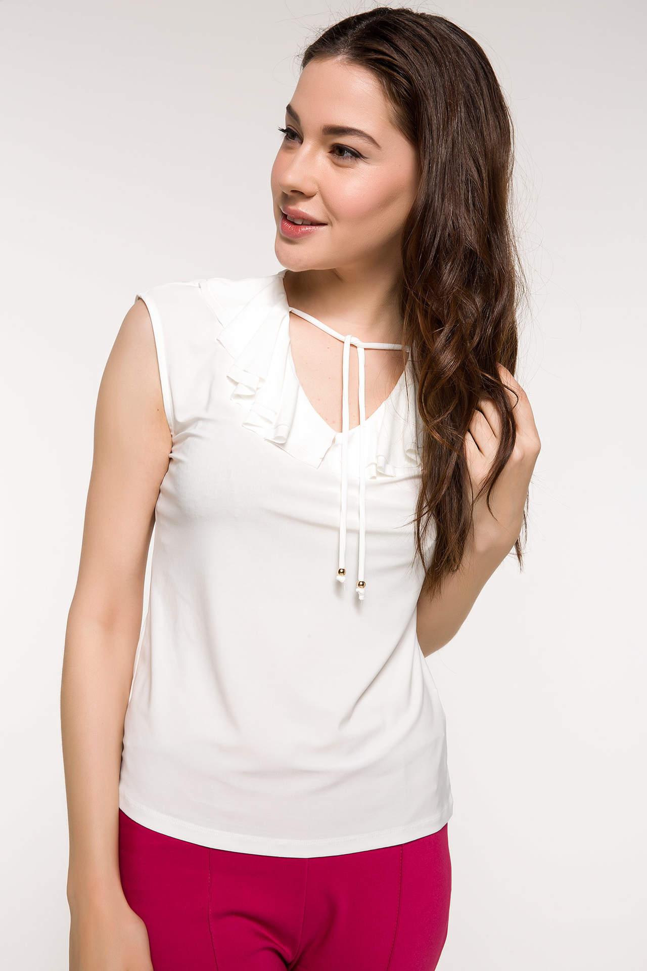 DeFacto Kadın Kolsuz Bluz Beyaz female